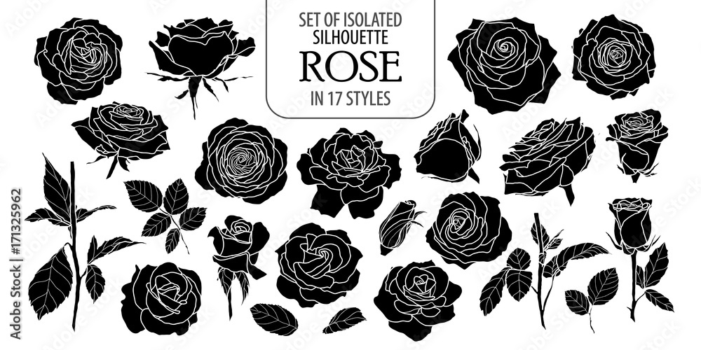 Fototapety, obrazy: Set of isolated rose in 17 styles. Cute flower illustration in hand drawn style. Silhouette on white background.