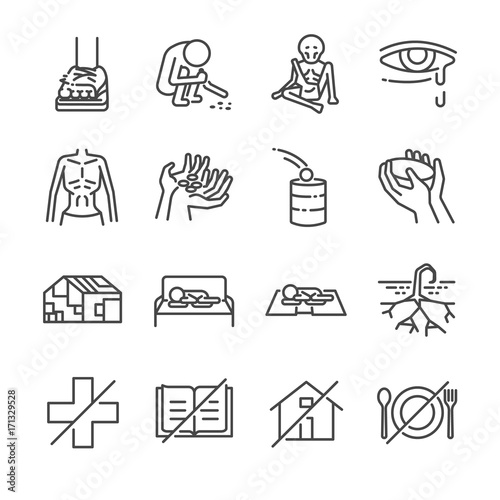 Destitution line icon set. Included the icons as scraggy, skinny, starving, homeless, beggar, poor and more. Wall mural