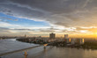 Landscape view of Bangkok with Chao Phraya river and sunset in evening, Bangkok Thailand