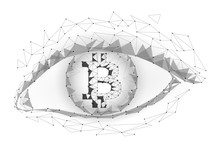 Crypto Currency Bitcoin In Eye. Net Banking Mining Future Technology Vector Greed Concept. Cryptography Finance Digital Worldwide Coin Low Poly Polygonal Triangle Icon Illustration