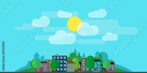 Spoed Foto op Canvas Turkoois City landscape with houses, with greenery, clouds on the background of the hills. The concept of urban life. The illustration is made in a flat style.