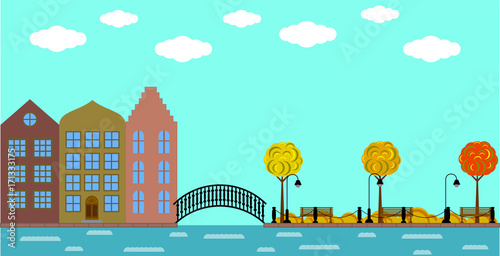 In de dag Groene koraal European Old Town with Bridge on the River and Park in Autumn