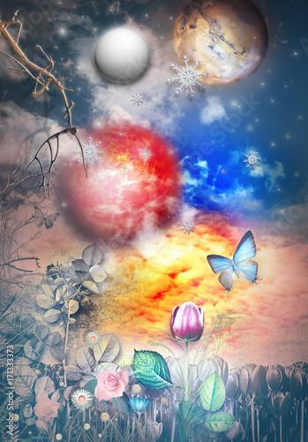 Imagination Notte stellata e fiabesca con luna piena,stelle,fiocchi di neve,farfalla e campo fiorito