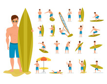 Surfer Set In Various Poses, Situations. Summer Vacation On Sea.