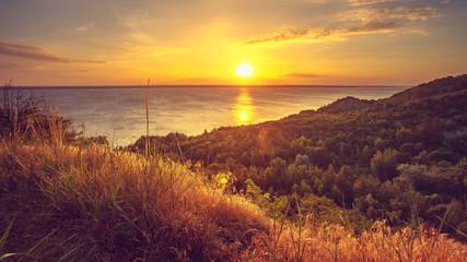 Fototapeta Drzewa Majestic nature landscape with sunset sky, river, meadow grass and forest. Exploring beauty world: Ukraine, Europe. Travel, hiking, holidays, recreation. Travel background. Autumn season. Orange
