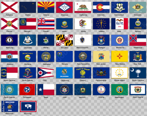 Fotografia Set of icons. Flags of the states of USA