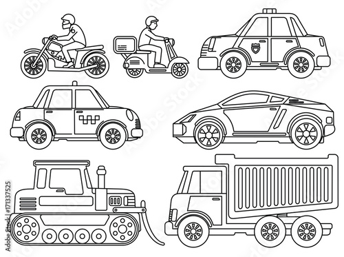 Photo  Coloring Book for Kids Cartoon Transport