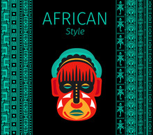 African Blue Borders And Mask
