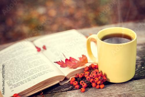 Plakat Otwórz książkę i kubek z gorącą herbatą i czerwonymi jagodami