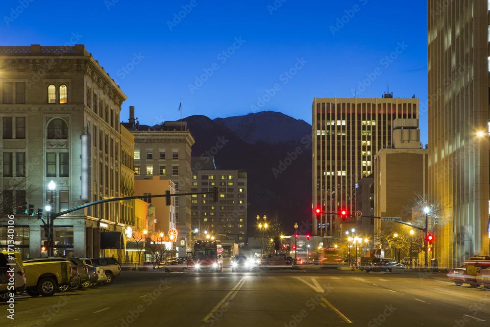Fototapety, obrazy: Downtown Colorado Springs at Night