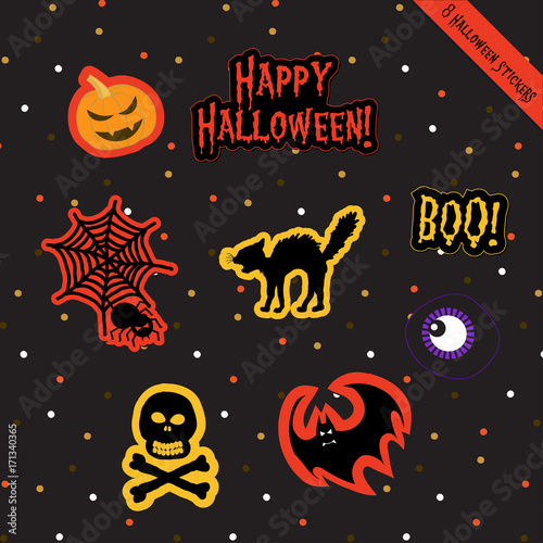 A Set Of Halloween Stickers Vector Scrapbook Gift Tags Stickers Collection For Celebration Halloween Holiday With Ghost Skeleton Skull Pumpkin Bat Cat Spider Monster Eye And Jack O Lantern Buy This Stock Vector