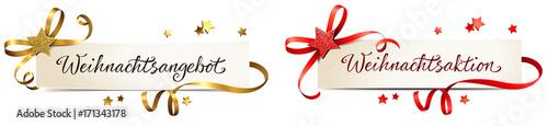 Fotografie, Obraz Weihnachtsangebot, Weihnachtsaktion - Banner Set mit Schleife und Glitter Stern,