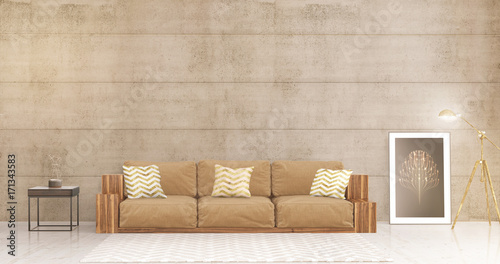 modern and minimalist living room with brick wall Canvas Print