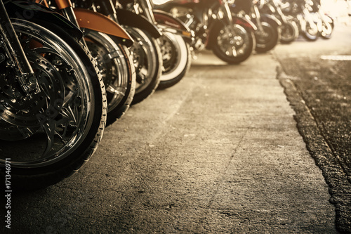 Aluminium Prints Bicycle Motorcycles in a row