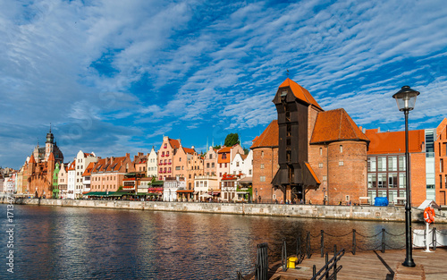 Plakat Gdańsk - port z dźwigiem; Polska