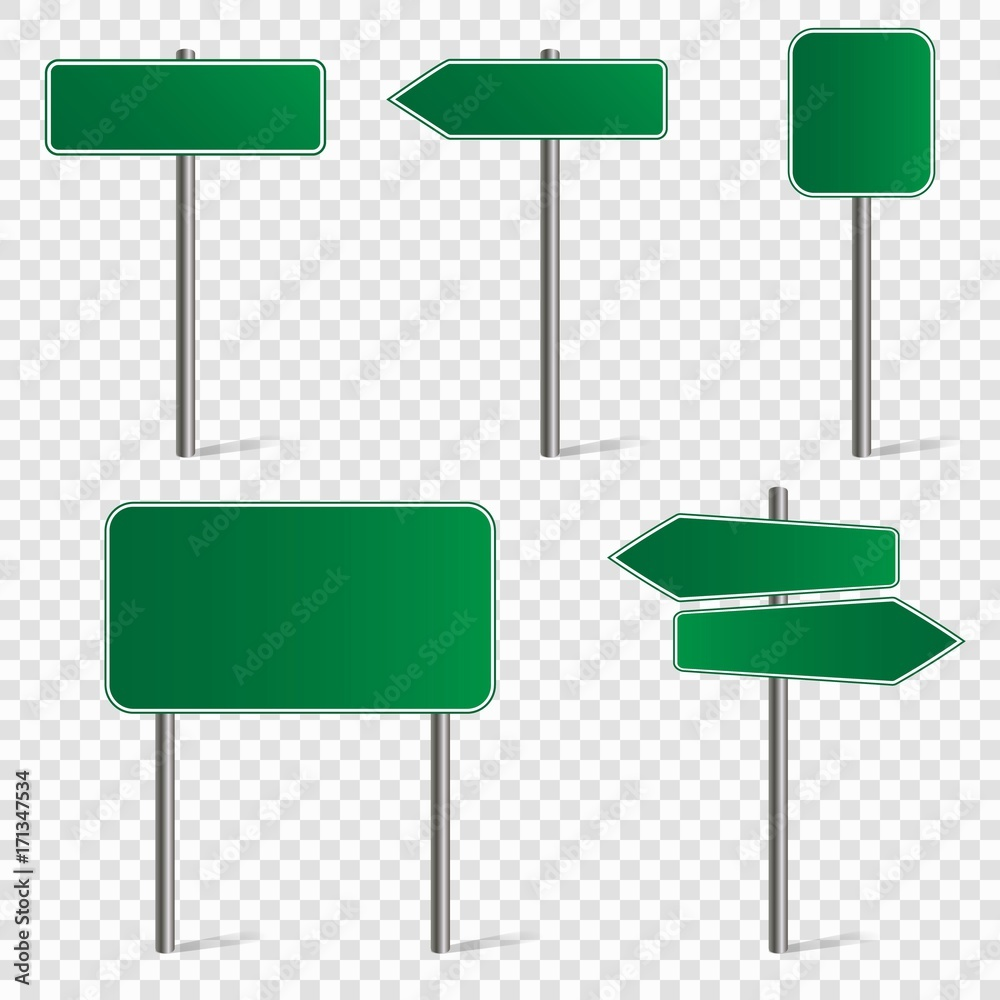 Fototapeta Set of blank road signs isolated on transparent background. Vector illustration.