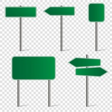 Set Of Blank Road Signs Isolated On Transparent Background. Vector Illustration.
