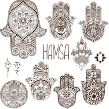 Hamsa Is An Amulet. Palm In Th...