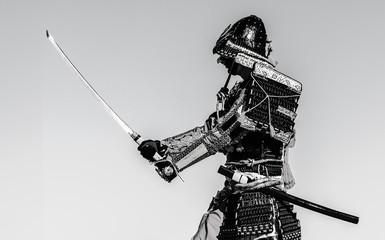 Samurai warrior with sword,...