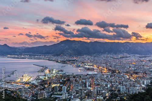 Fotoposter Palermo Aerial view of Palermo at sunset, Italy
