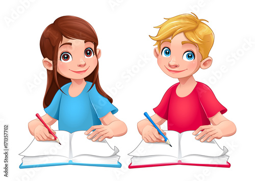 Foto op Plexiglas Kinderkamer Young students boy and girl with books and pencils
