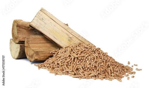 Bûches de bois et granulés de bois Tablou Canvas