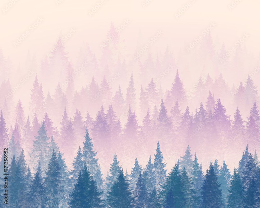Fototapety, obrazy: Forest in the fog. Minimalistic illustration. Digital drawing.