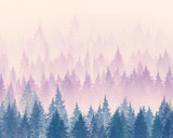 Forest in the fog. Minimalistic illustration. Digital drawing. - 171358952