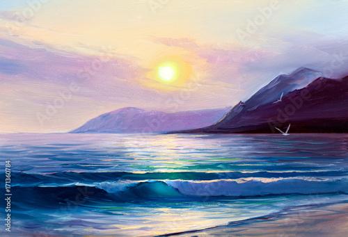 Plakat Rano na morzu, fala, ilustracja, obraz olejny na płótnie.
