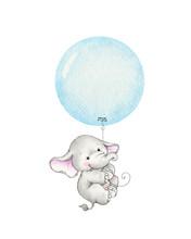 Cute Elephant Flying On A Blue...