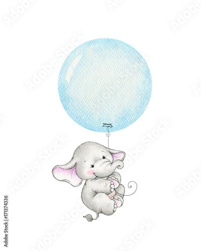 Photo  Cute elephant flying on a blue balloon