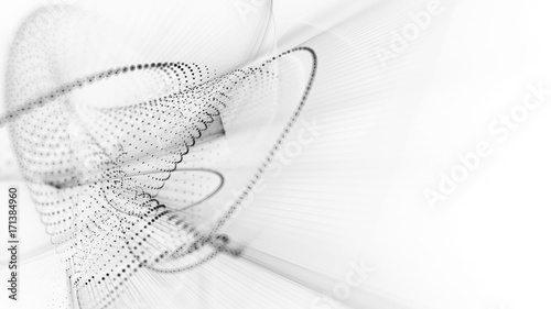 In de dag Fractal waves Abstract background. Fractal graphics series. Three-dimensional composition of dots, waves and rays of light. Wide white texture.