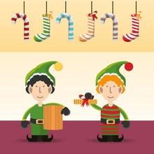 Elfs Of Merry Christmas Season Theme Vector Illustration