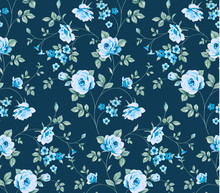 Seamless Pattern With Vintage Blue Roses On Blue Background.