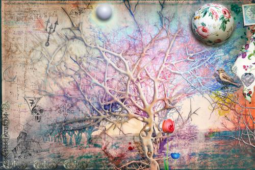 Foto op Aluminium Imagination Giardino dell'eden con albero della conoscenza