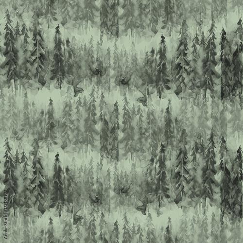 jednolite-wzor-akwarela-tlo-ciemna-szara-sylwetka-drzew-swierk-sosna-cedr-streszczenie-malowniczych-krajobrazow-lesnych