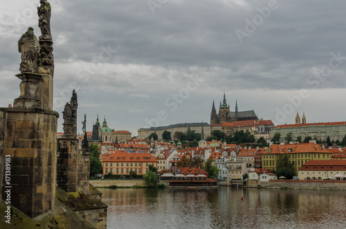 Fototapety, obrazy: Cityscape view on the riverside with the bridge and old town in Prague