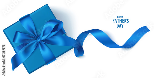 Photo Vector template with beautiful decorative gift box, blue bow and long ribbon