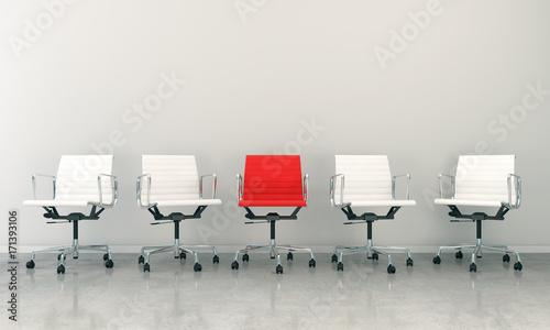 Obraz na plátně  3d render of business lounge with five chairs