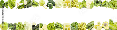 Poster Légumes frais Background from different green vegetables and fruits, isolated on white