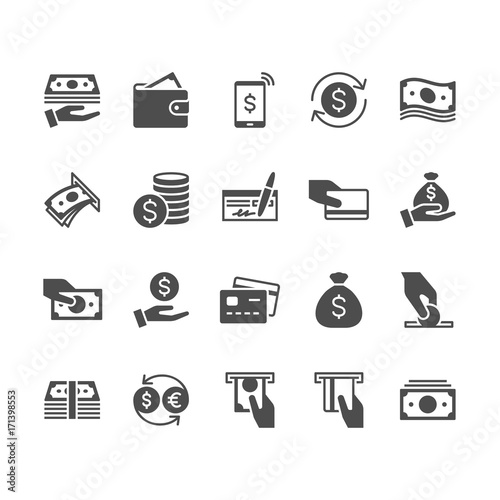 Fototapeta Money flat icons. obraz