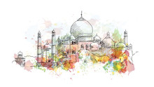 Watercolor Sketch Of Taj Mahal...