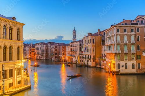 Plakat Wenecja zmierzchu miasta linia horyzontu przy kanał grande, Wenecja (Venezia), Włochy