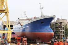 Big Ship  On Dry Dock In Shipyard.