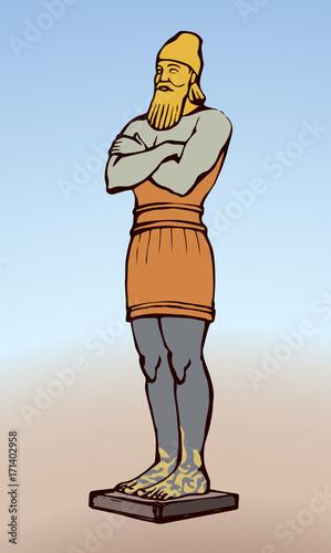 Tela Golden Idol of Nebuchadnezzar. Vector drawing