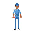 Proffesional plumber character in a blue overall standing with monkey wrench and roll of rope, plumbing service vector Illustration