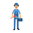 Proffesional plumber character in a blue overall standing with plunger tool and tool box, plumbing service vector Illustration