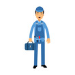 Proffesional plumber character in a blue overall standing with tool box, plumbing service vector Illustration