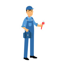 Proffesional Plumber Character In A Blue Overall Standing With Monkey Wrench And Tool Box, Plumbing Service Vector Illustration