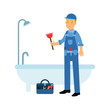 Proffesional plumber character cleaning drain in the bathtub using plunger, plumbing service vector Illustration